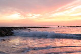 Afbeelding van Playa de Fañabe in de buurt van Playa de las Américas. pink sunset sea evening wave tenerife canaryislands hisgett fanabebeach