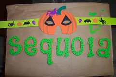 """Halloween Mask and Custom """"Sequoia"""" Lettering"""