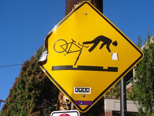 Bicycle hazard sign, Portland OR