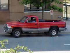 dodge dakota(0.0), chevrolet silverado(0.0), luxury vehicle(0.0), automobile(1.0), automotive exterior(1.0), pickup truck(1.0), vehicle(1.0), truck(1.0), ram(1.0), bumper(1.0), land vehicle(1.0),