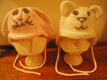 Bunny and Bear Hats, Completed