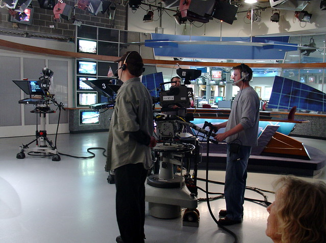TV camera men in a TV studio