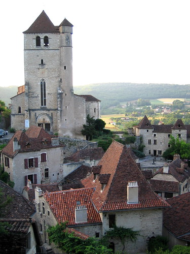 Saint-Cirq Lapopie France Church and Rooftops