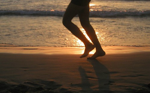 jogging on the beach