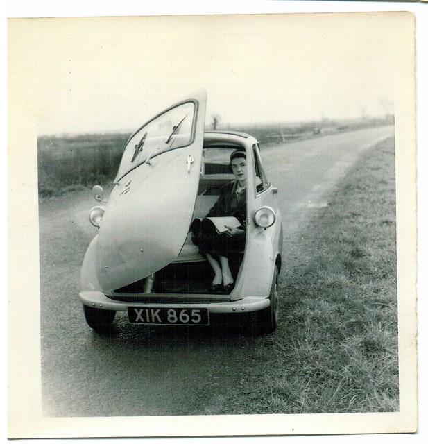 Mum in Dads first car.