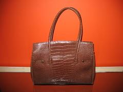 Brown Faux Croc Business Bag