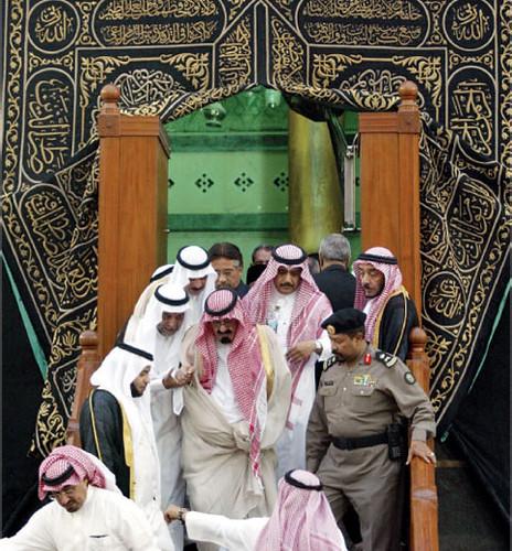 King Abduallah of Saudi Arabia coming out of Holy Kaba