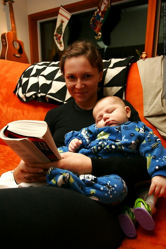 aunt megan and her dozing nephew    MG 8199