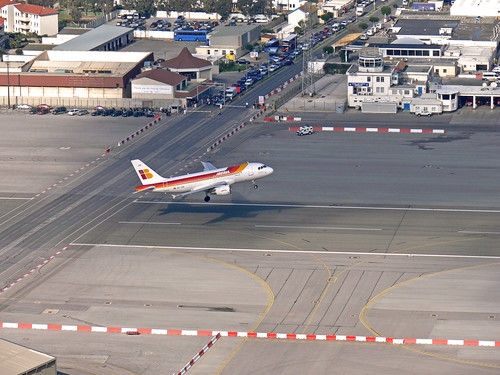 Iberia EC-JVE take-off at Gibraltar Airport LXGB