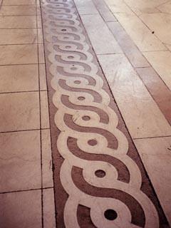 Sandblast Stencil | Sandblasted design in concrete floor
