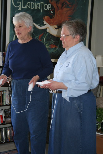 the old ladies playing the wii