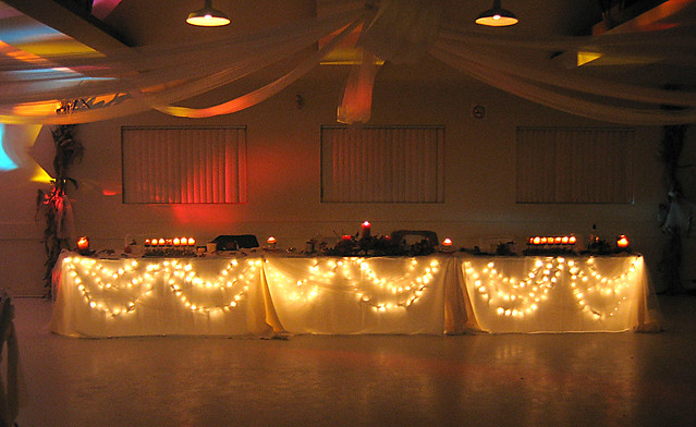 Night Time Wedding Reception Lights and candles help to create wonderful