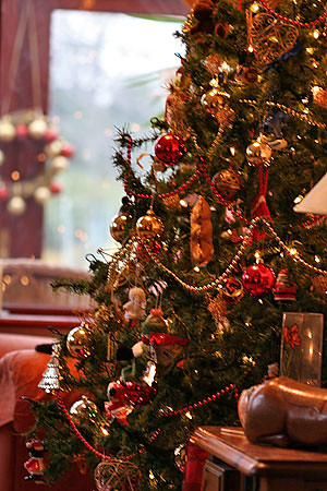 Traditional Christmas Tree, Decorated Tree, Holiday Decor, Shimelle Photography