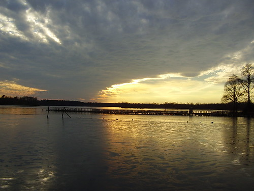 sunset ice clouds river chickahominy