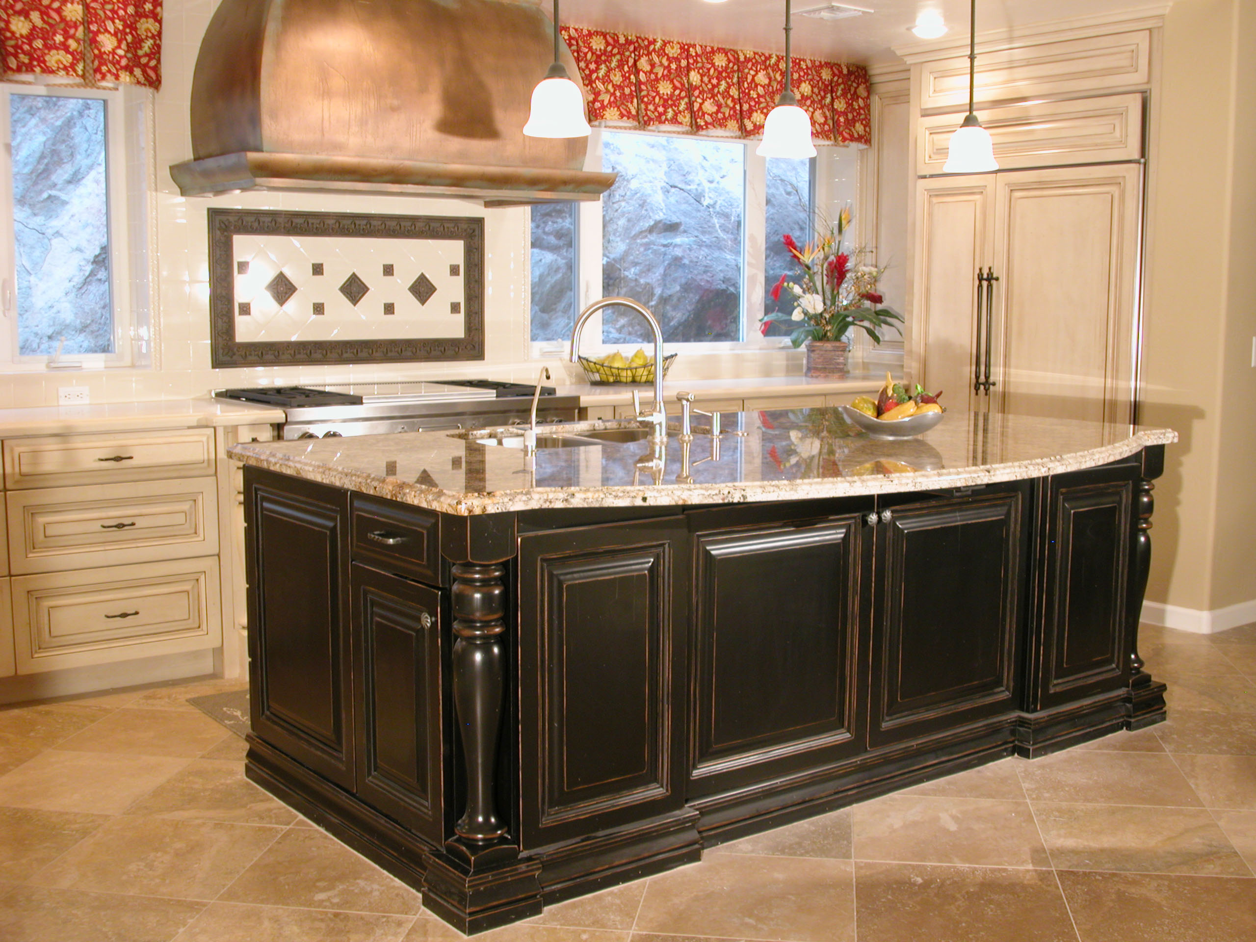 Country Kitchen Backsplash Black Cabinet