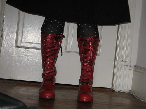 My new red boots from Rose Chocolat.