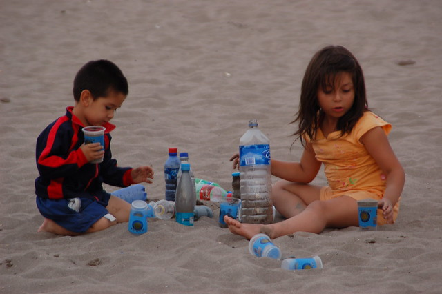 Children playing at an international 7s sand rugby tournament