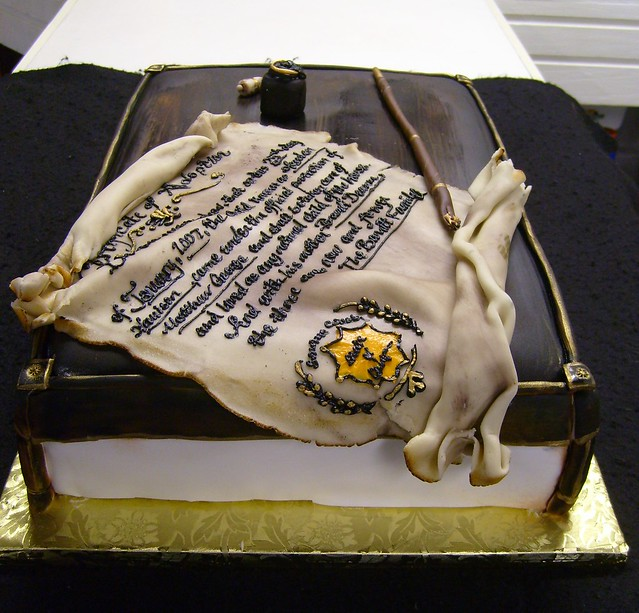 Adoption cake with Scroll  Fountain pen and InkwellFountain Pen And Inkwell