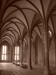 gothic architecture, symmetry, arch, building, monastery, architecture, monochrome photography, vault, aisle, arcade, black-and-white, column,