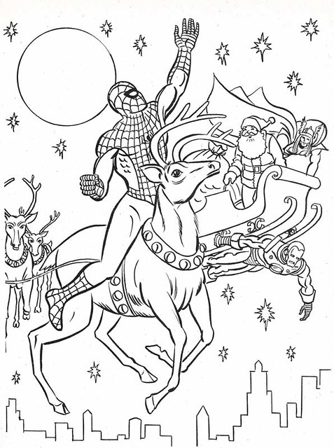 Superhero Christmas Colouring The Marvel Super Heroes Coloring Book Page Flickr Photo