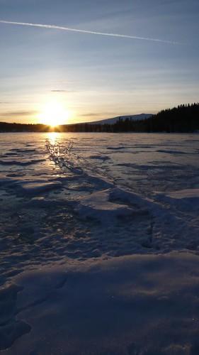 winter sunset lake snow ice frozen