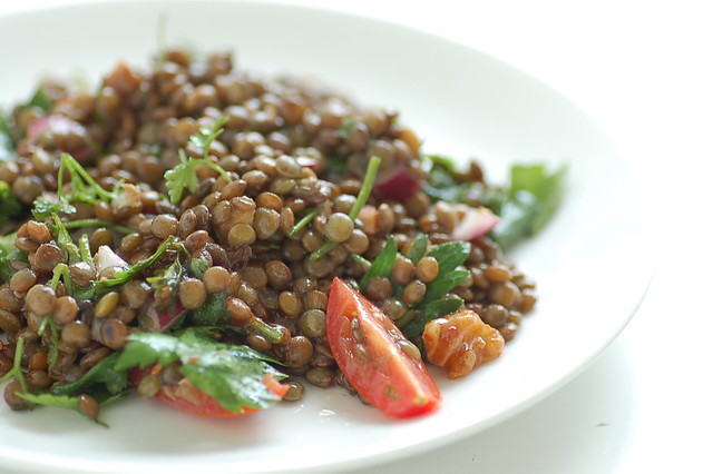 green lentil salad with walnut dressing