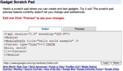 Google Gadget scratch pad