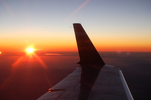 Airplane's Wing and Sunset