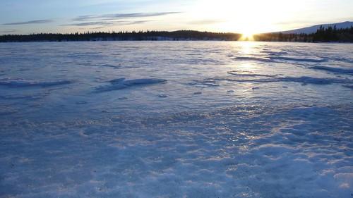 blue sunset white lake ice frozen