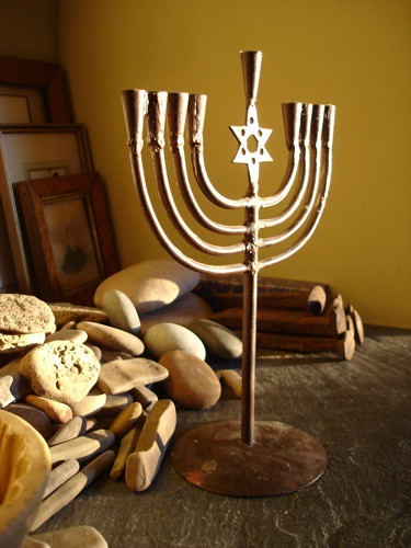 golden menorah by trudeau