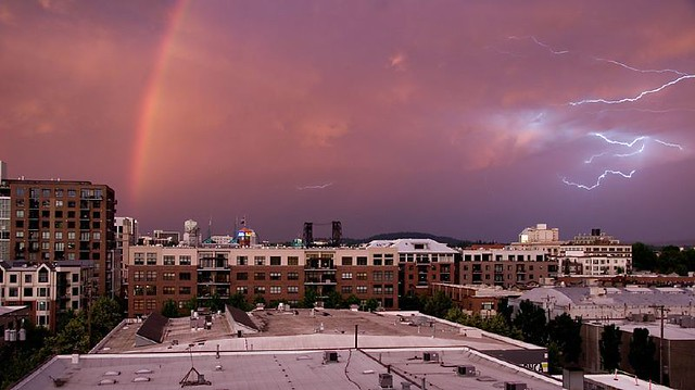 Sunset, Rainbow & Lightning in one pic