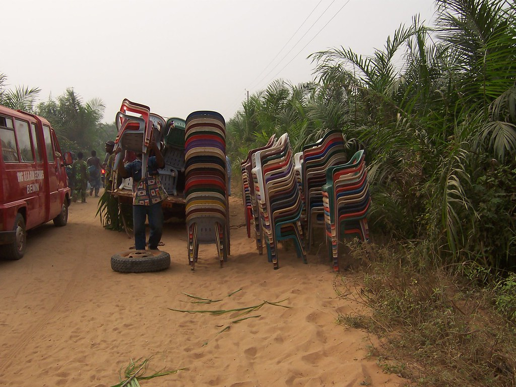 Stack of plastic chairs, Ouidah, Benin