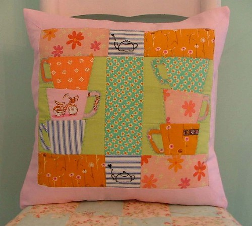 Pink & Orange Teacup Pillow