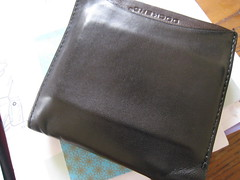 brown, leather, wallet,