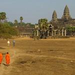 Monks Walking to Angkor Wat - Angkor, Cambodia