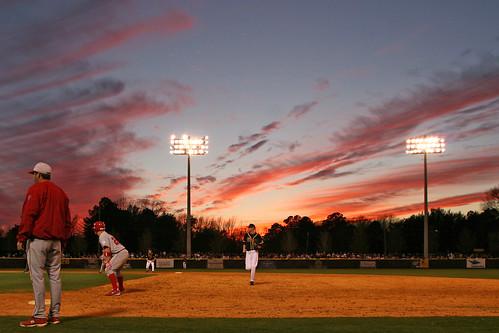 sunset sky college sports field nc baseball dusk northcarolina diamond greenvillenc clarkleclairstadium