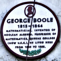 Photo of George Boole purple, white and green plaque