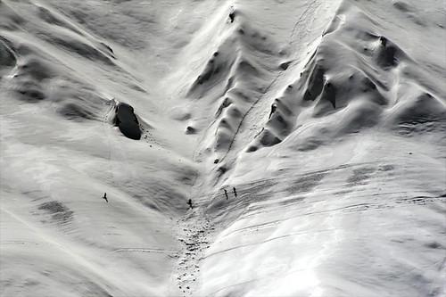 skiers in v