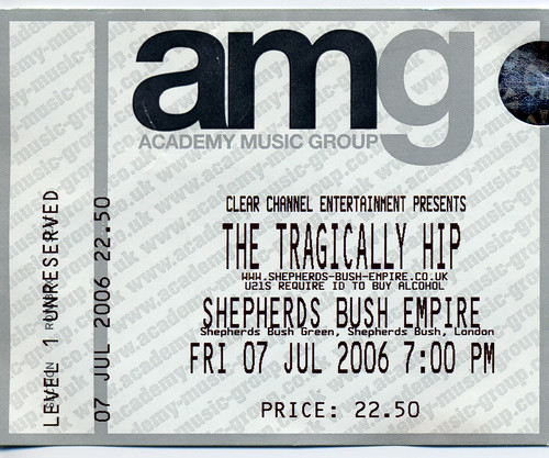 The Tragically Hip Shepherds Bush Empire 07/07/06