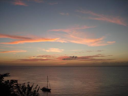 sunset sea sky holiday clouds sailboat caribbean stlucia tikaye alexhopkins