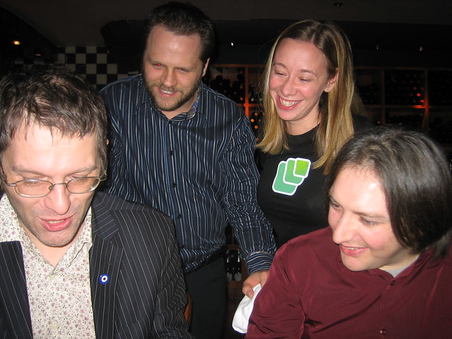 Angela Baxley at the Microsoft Speaker dinner featuring Andy Clarke, Derrick Featherstone, and Jeremy Keith. Photo @t Vancouver, BC. February 7, 2007.