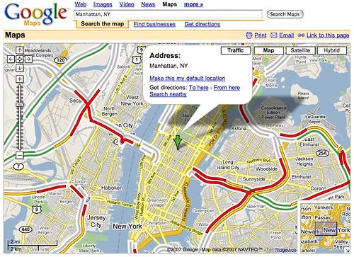 Google Traffic Manhattan Ny Google Maps 20070228