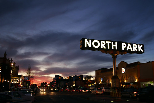 North Park sign at sunset