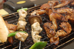 fried food(0.0), meal(1.0), roasting(1.0), grilling(1.0), barbecue(1.0), street food(1.0), samgyeopsal(1.0), brochette(1.0), meat(1.0), food(1.0), dish(1.0), shashlik(1.0), yakitori(1.0), cuisine(1.0), cooking(1.0), souvlaki(1.0), skewer(1.0), satay(1.0), grilled food(1.0),