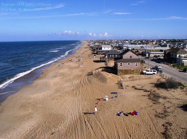 Kitty Hawk beach, facing South at milepost 3 from a kite