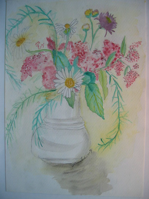 Summer flowers in watercolours