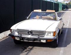 executive car(0.0), mercedes-benz(0.0), sedan(0.0), sports car(0.0), automobile(1.0), automotive exterior(1.0), vehicle(1.0), performance car(1.0), mercedes-benz r107 and c107(1.0), bumper(1.0), antique car(1.0), classic car(1.0), land vehicle(1.0), luxury vehicle(1.0),