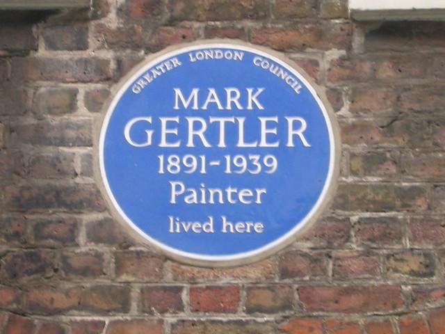 Mark Gertler blue plaque - Mark Gertler 1891-1939 painter lived here