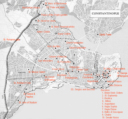 constantinople1   map of the ancient city of ...