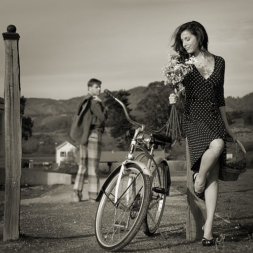 Bicycle and lady (re-post)